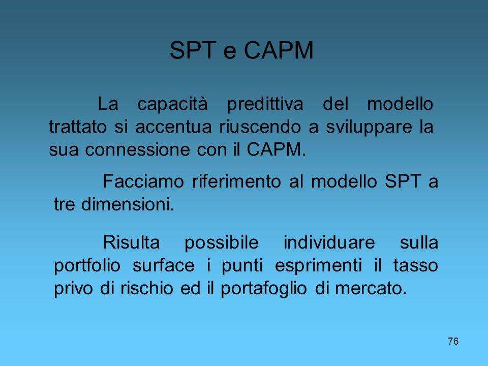 76 SPT e CAPM La capacità predittiva del modello trattato si accentua riuscendo a sviluppare la sua connessione con il CAPM. Facciamo riferimento al m