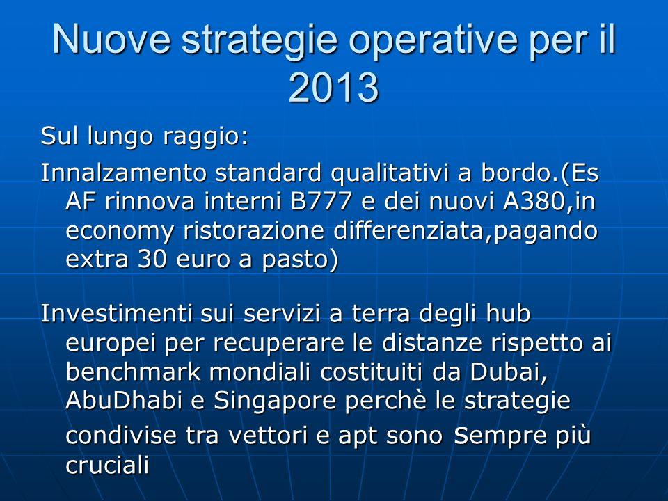 Nuove strategie operative per il 2013 Sul lungo raggio: Innalzamento standard qualitativi a bordo.(Es AF rinnova interni B777 e dei nuovi A380,in econ
