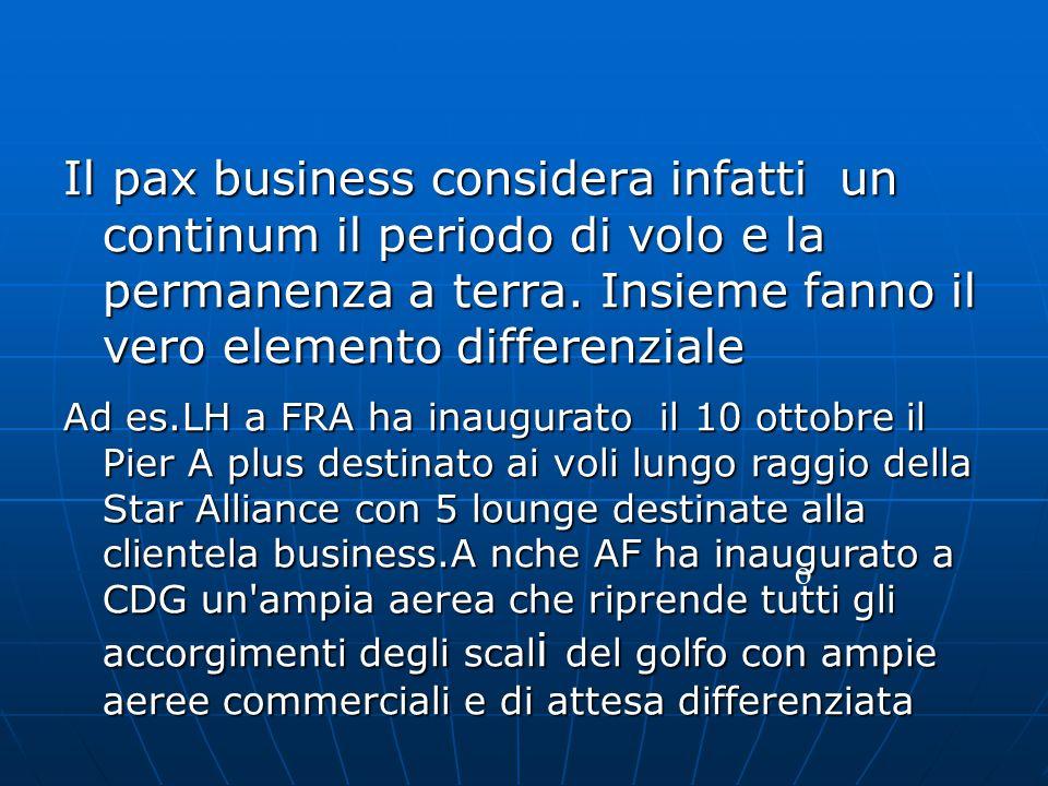 Il pax business considera infatti un continum il periodo di volo e la permanenza a terra. Insieme fanno il vero elemento differenziale Ad es.LH a FRA