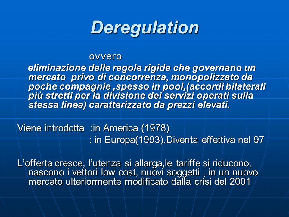 Deregulation ovvero ovvero eliminazione delle regole rigide che governano un mercato privo di concorrenza, monopolizzato da poche compagnie,spesso in