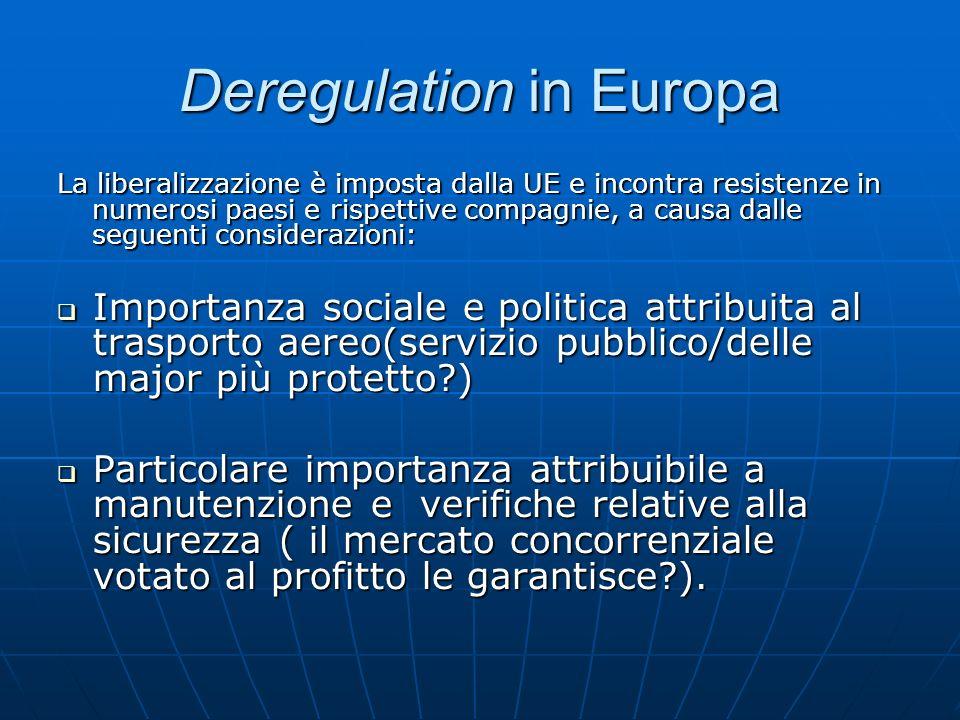 Deregulation in Europa La liberalizzazione è imposta dalla UE e incontra resistenze in numerosi paesi e rispettive compagnie, a causa dalle seguenti c