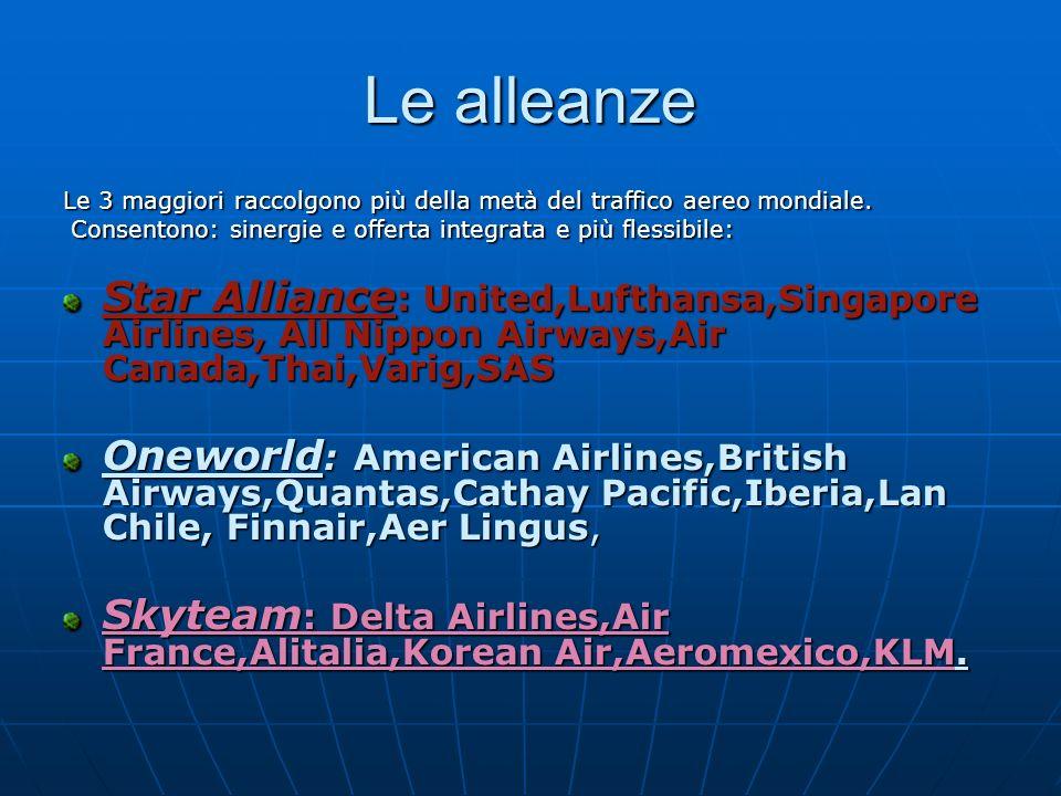 Le alleanze Le 3 maggiori raccolgono più della metà del traffico aereo mondiale. Consentono: sinergie e offerta integrata e più flessibile: Consentono