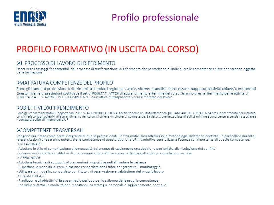 Profilo professionale PROFILO FORMATIVO (IN USCITA DAL CORSO) IL PROCESSO DI LAVORO DI RIFERIMENTO Descrivere i passaggi fondamentali del processo di