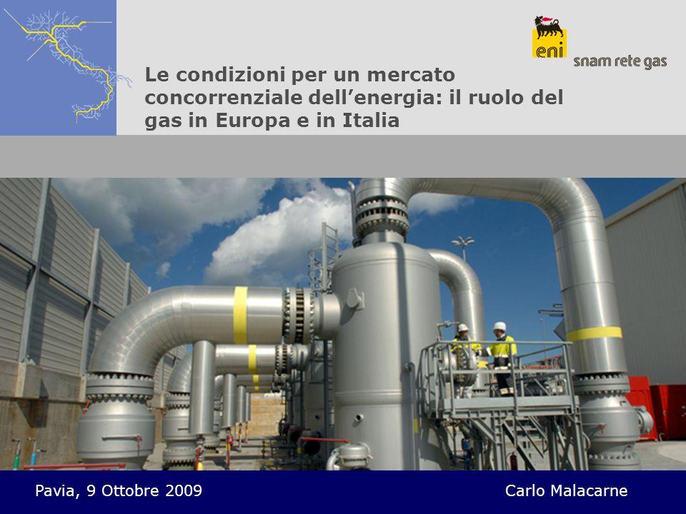Le condizioni per un mercato concorrenziale dellenergia: il ruolo del gas in Europa e in Italia Pavia, 9 Ottobre 2009Carlo Malacarne