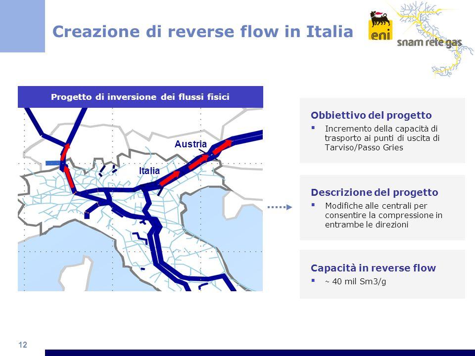 12 Creazione di reverse flow in Italia Obbiettivo del progetto Incremento della capacità di trasporto ai punti di uscita di Tarviso/Passo Gries Proget