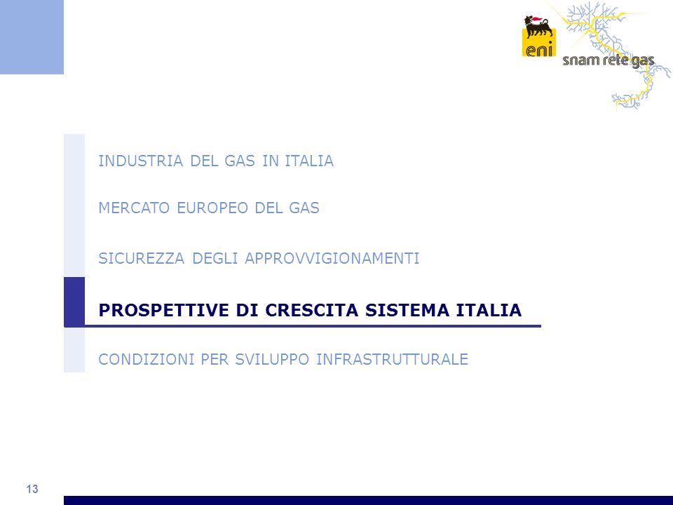 13 INDUSTRIA DEL GAS IN ITALIA MERCATO EUROPEO DEL GAS SICUREZZA DEGLI APPROVVIGIONAMENTI PROSPETTIVE DI CRESCITA SISTEMA ITALIA CONDIZIONI PER SVILUP