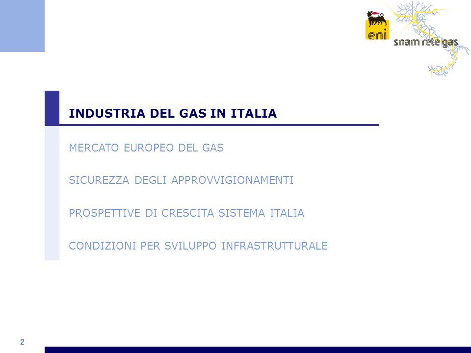 13 INDUSTRIA DEL GAS IN ITALIA MERCATO EUROPEO DEL GAS SICUREZZA DEGLI APPROVVIGIONAMENTI PROSPETTIVE DI CRESCITA SISTEMA ITALIA CONDIZIONI PER SVILUPPO INFRASTRUTTURALE