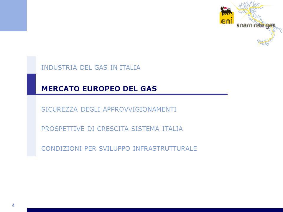 4 INDUSTRIA DEL GAS IN ITALIA MERCATO EUROPEO DEL GAS SICUREZZA DEGLI APPROVVIGIONAMENTI PROSPETTIVE DI CRESCITA SISTEMA ITALIA CONDIZIONI PER SVILUPP