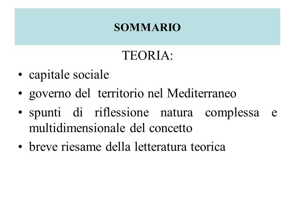 SOMMARIO TEORIA: capitale sociale governo del territorio nel Mediterraneo spunti di riflessione natura complessa e multidimensionale del concetto breve riesame della letteratura teorica