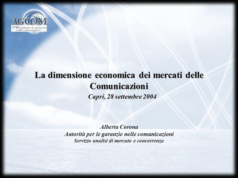 La dimensione economica dei mercati delle Comunicazioni Alberta Corona Autorità per le garanzie nelle comunicazioni Servizio analisi di mercato e conc