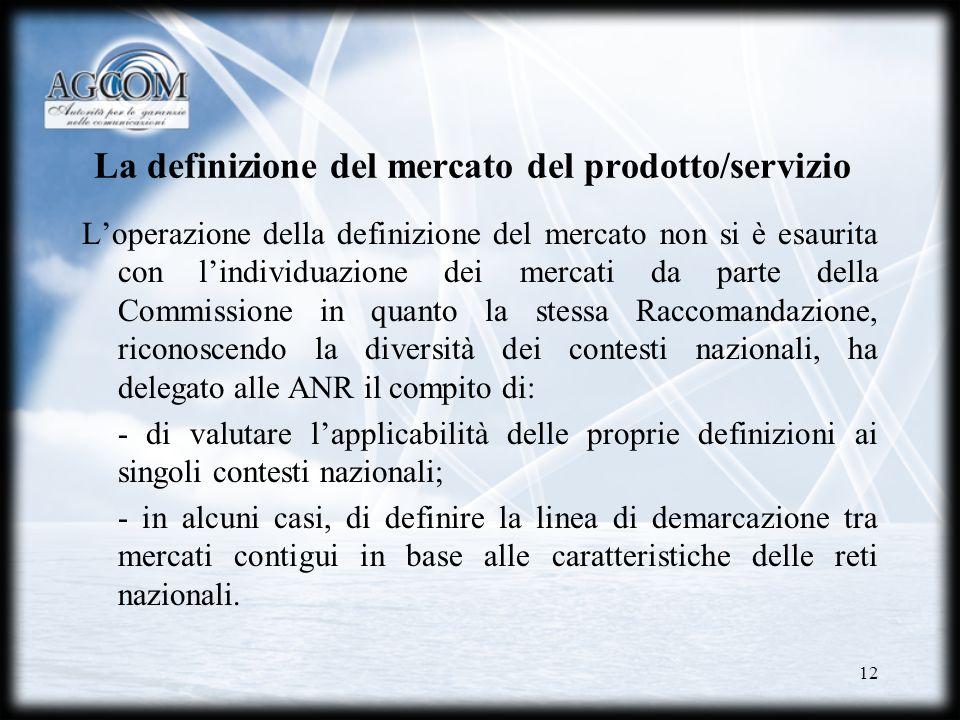 12 La definizione del mercato del prodotto/servizio Loperazione della definizione del mercato non si è esaurita con lindividuazione dei mercati da par