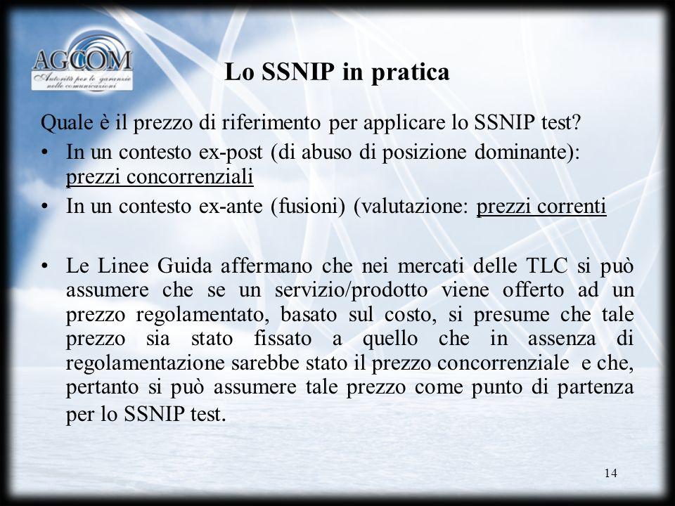 14 Lo SSNIP in pratica Quale è il prezzo di riferimento per applicare lo SSNIP test? In un contesto ex-post (di abuso di posizione dominante): prezzi