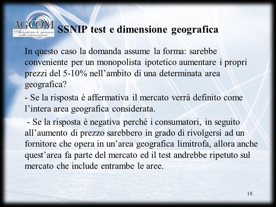 16 SSNIP test e dimensione geografica In questo caso la domanda assume la forma: sarebbe conveniente per un monopolista ipotetico aumentare i propri p