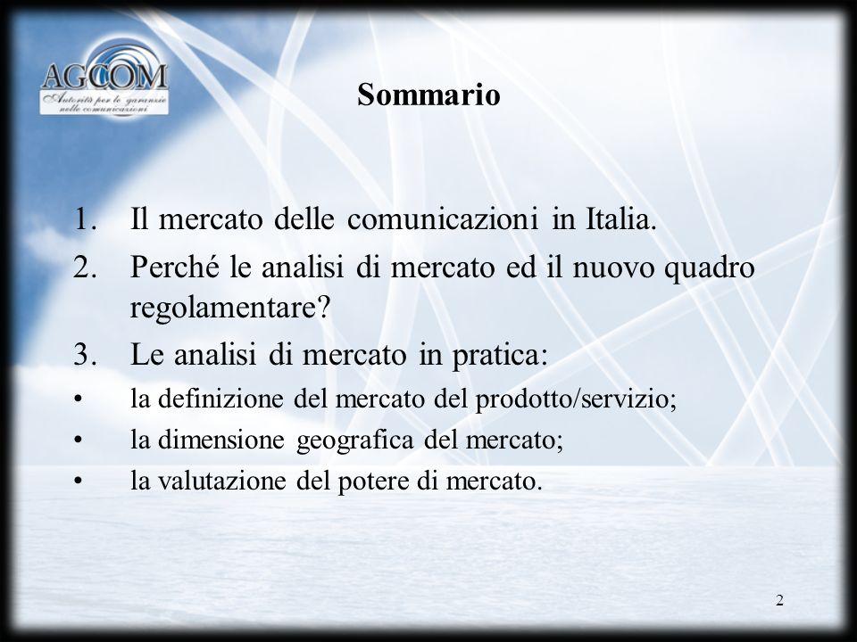 2 Sommario 1.Il mercato delle comunicazioni in Italia. 2.Perché le analisi di mercato ed il nuovo quadro regolamentare? 3.Le analisi di mercato in pra