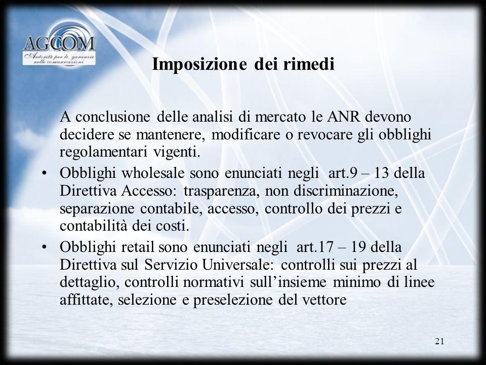 21 Imposizione dei rimedi A conclusione delle analisi di mercato le ANR devono decidere se mantenere, modificare o revocare gli obblighi regolamentari