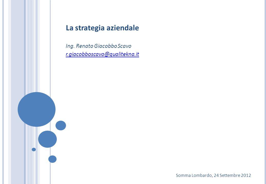 La strategia aziendale Ing. Renato Giacobbo Scavo r.giacobboscavo@qualitekna.it Somma Lombardo, 24 Settembre 2012
