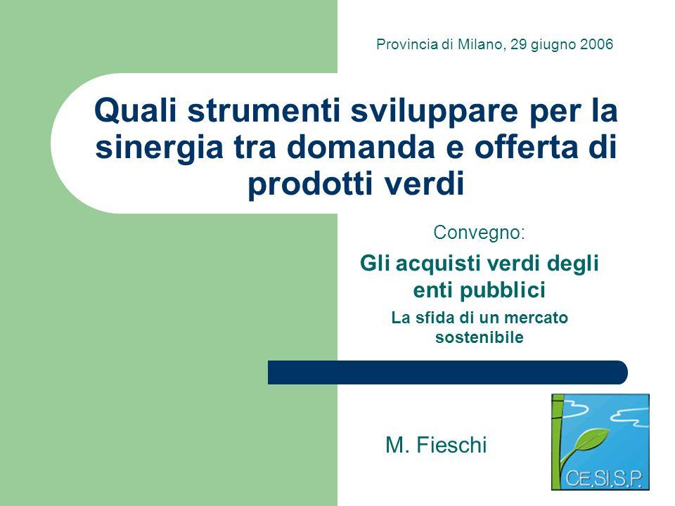 Quali strumenti sviluppare per la sinergia tra domanda e offerta di prodotti verdi Convegno: Gli acquisti verdi degli enti pubblici La sfida di un mer