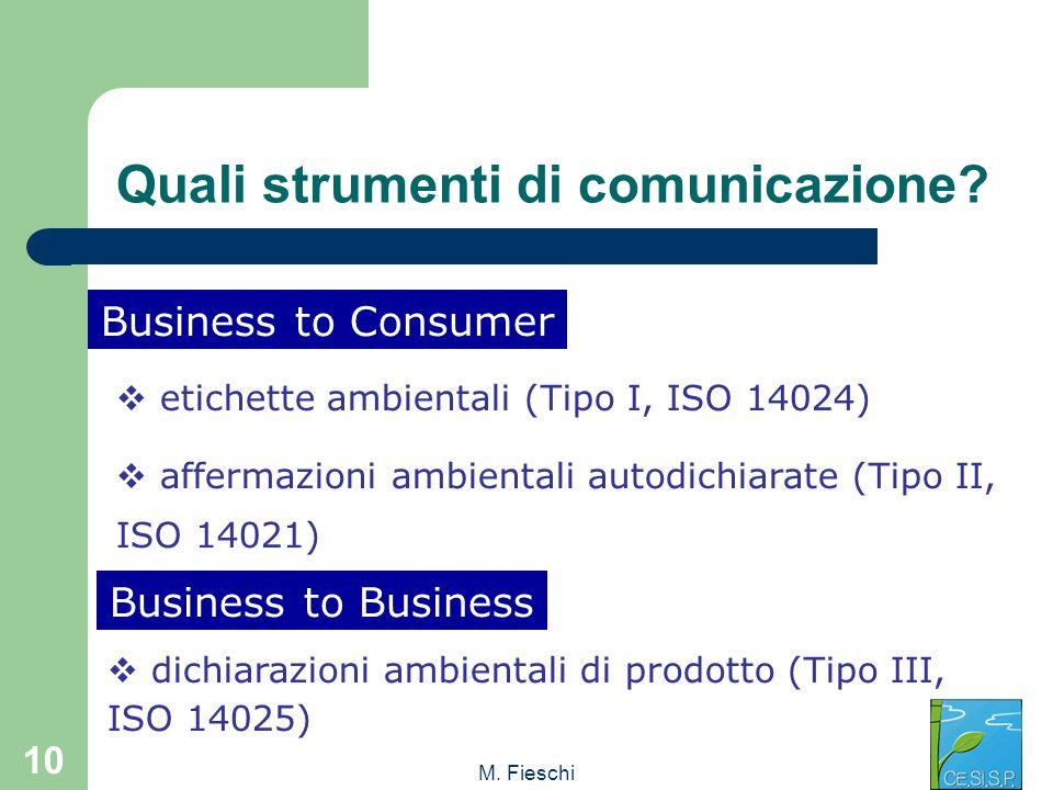 M. Fieschi 10 etichette ambientali (Tipo I, ISO 14024) affermazioni ambientali autodichiarate (Tipo II, ISO 14021) Business to Consumer Business to Bu