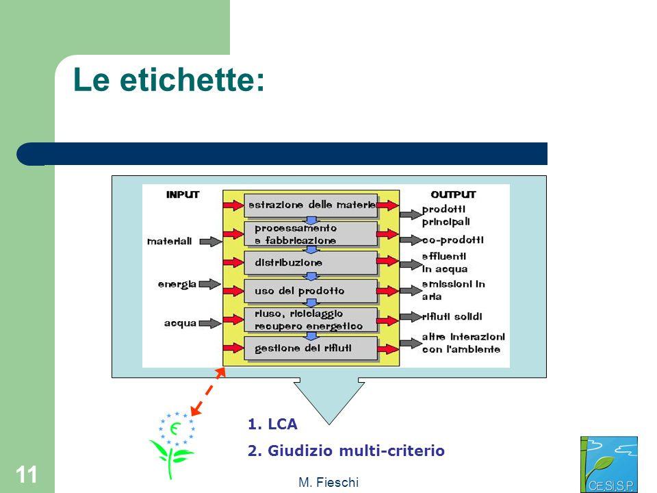 M. Fieschi 11 1. LCA 2. Giudizio multi-criterio Le etichette: