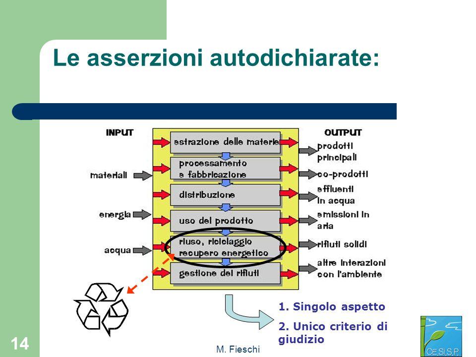 M. Fieschi 14 Le asserzioni autodichiarate: 1. Singolo aspetto 2. Unico criterio di giudizio