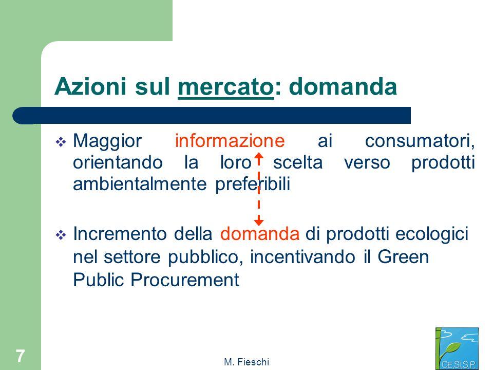 M. Fieschi 7 Azioni sul mercato: domanda Maggior informazione ai consumatori, orientando la loro scelta verso prodotti ambientalmente preferibili Incr