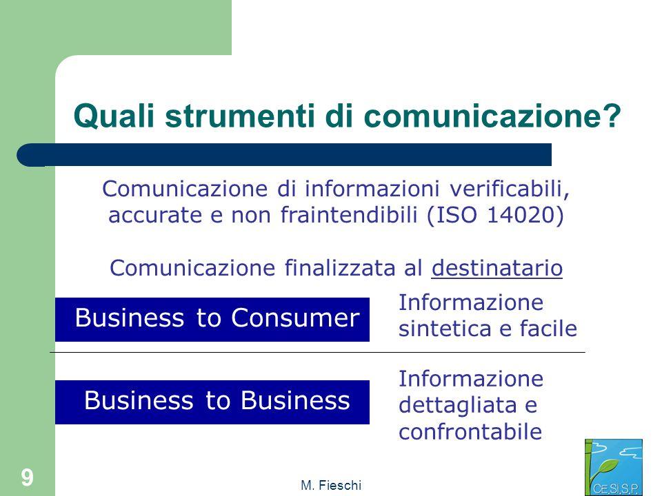 M. Fieschi 9 Quali strumenti di comunicazione? Business to Consumer Comunicazione di informazioni verificabili, accurate e non fraintendibili (ISO 140