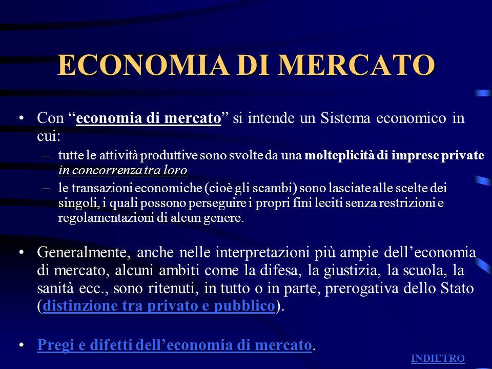 ECONOMIA DI MERCATO Con economia di mercato si intende un Sistema economico in cui: in concorrenza tra loro –tutte le attività produttive sono svolte