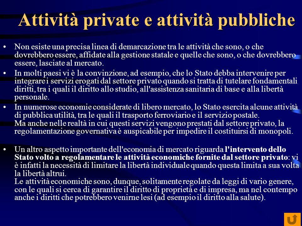 Attività private e attività pubbliche Non esiste una precisa linea di demarcazione tra le attività che sono, o che dovrebbero essere, affidate alla ge