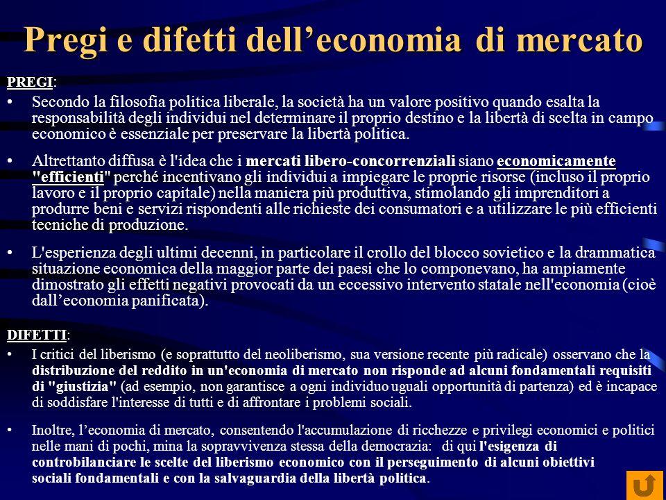 Pregi e difetti delleconomia di mercato PREGI PREGI : Secondo la filosofia politica liberale, la società ha un valore positivo quando esalta la respon