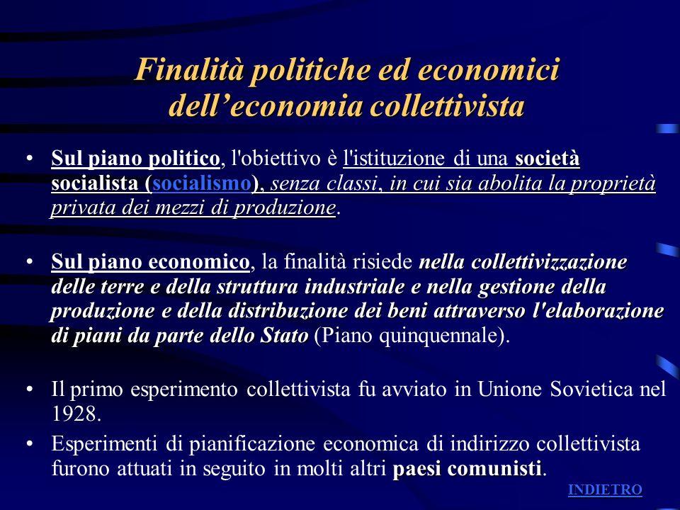 Finalità politiche ed economici delleconomia collettivista società socialista (socialismo)in cui sia abolita la proprietà privata dei mezzi di produzi
