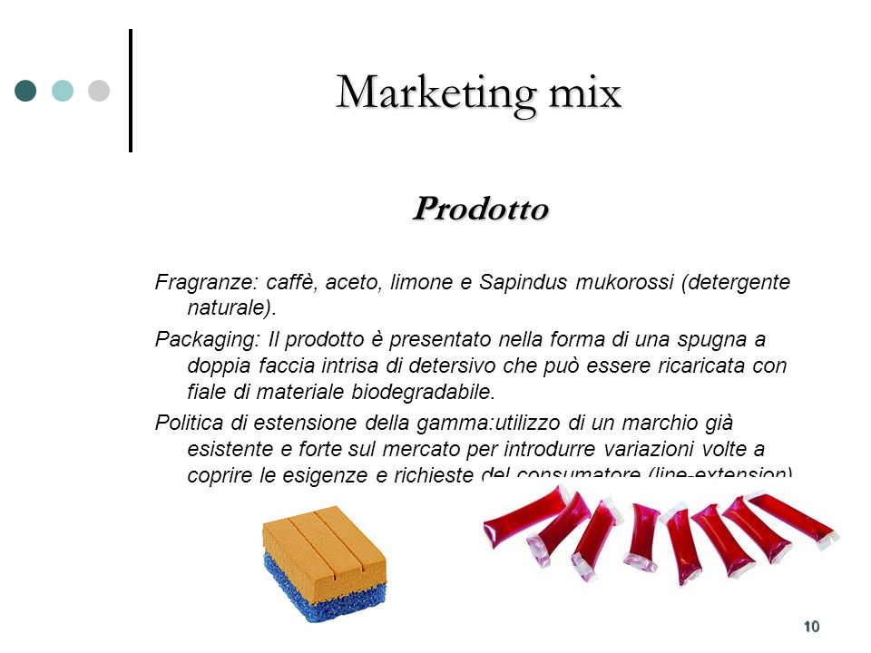 10 Marketing mix Prodotto Fragranze: caffè, aceto, limone e Sapindus mukorossi (detergente naturale). Packaging: Il prodotto è presentato nella forma