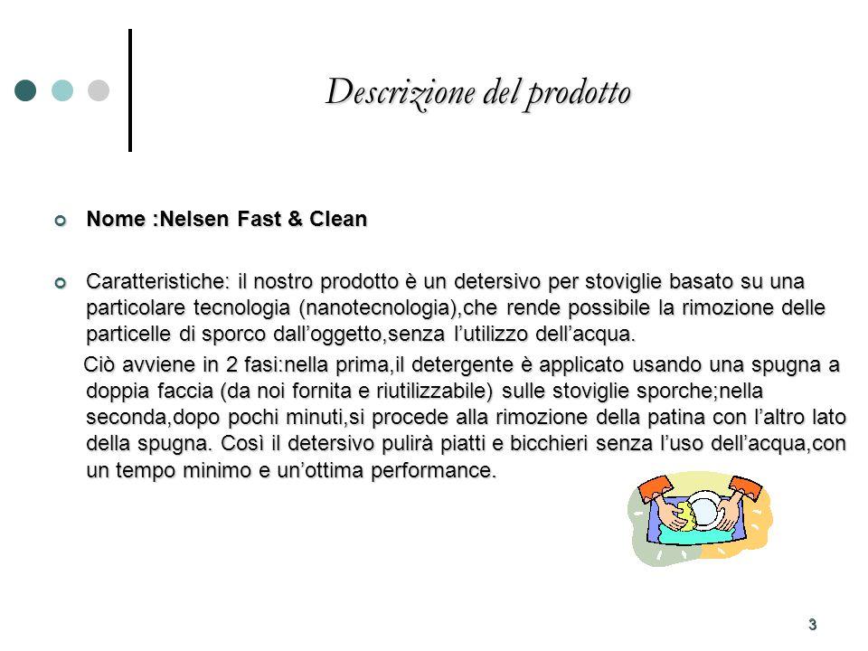 3 Descrizione del prodotto Nome :Nelsen Fast & Clean Nome :Nelsen Fast & Clean Caratteristiche: il nostro prodotto è un detersivo per stoviglie basato su una particolare tecnologia (nanotecnologia),che rende possibile la rimozione delle particelle di sporco dalloggetto,senza lutilizzo dellacqua.