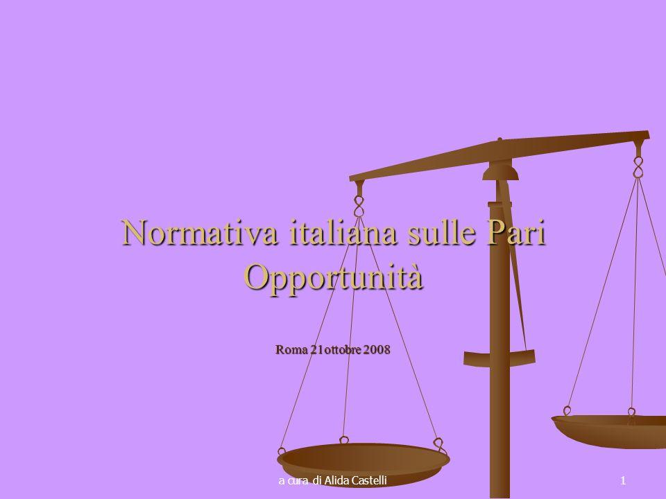 a cura di Alida Castelli1 Normativa italiana sulle Pari Opportunità Roma 21ottobre 2008