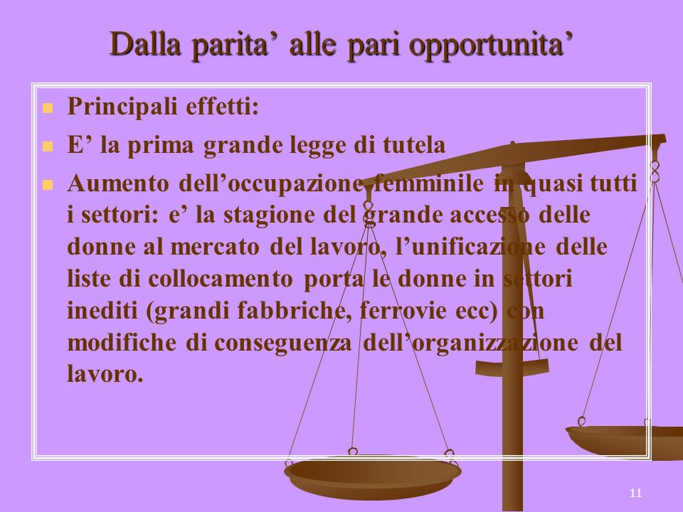 11 Dalla parita alle pari opportunita Principali effetti: E la prima grande legge di tutela Aumento delloccupazione femminile in quasi tutti i settori