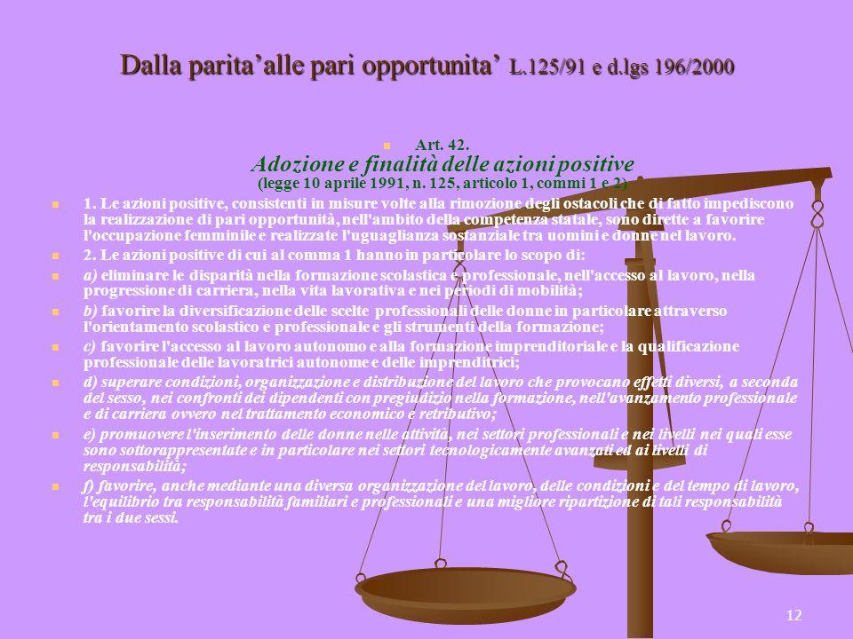 12 Dalla paritaalle pari opportunita L.125/91 e d.lgs 196/2000 Art. 42. Adozione e finalità delle azioni positive (legge 10 aprile 1991, n. 125, artic