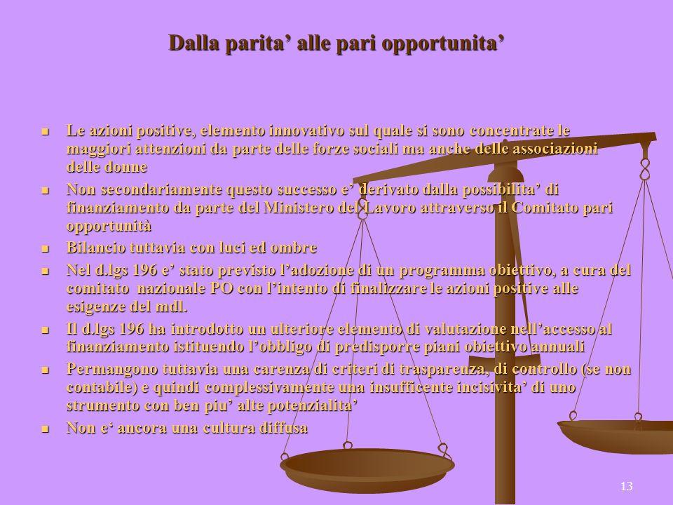 13 Dalla parita alle pari opportunita Le azioni positive, elemento innovativo sul quale si sono concentrate le maggiori attenzioni da parte delle forz