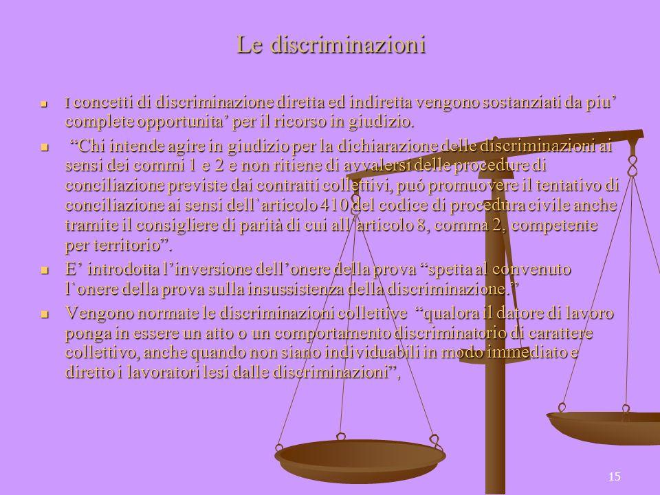 15 Le discriminazioni I concetti di discriminazione diretta ed indiretta vengono sostanziati da piu complete opportunita per il ricorso in giudizio. I