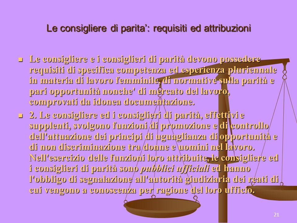 21 Le consigliere di parita: requisiti ed attribuzioni Le consigliere e i consiglieri di parità devono possedere requisiti di specifica competenza ed