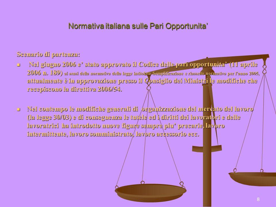 8 Normativa italiana sulle Pari Opportunita Scenario di partenza: Nel giugno 2006 e stato approvato il Codice delle pari opportunita (11 aprile 2006 n
