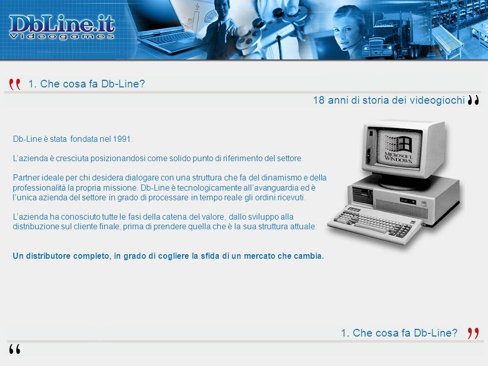 1. Che cosa fa Db-Line. 18 anni di storia dei videogiochi Db-Line è stata fondata nel 1991.