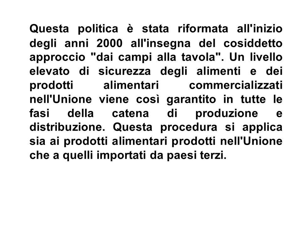 Questa politica è stata riformata all inizio degli anni 2000 all insegna del cosiddetto approccio dai campi alla tavola .
