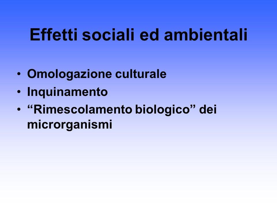 Effetti sociali ed ambientali Omologazione culturale Inquinamento Rimescolamento biologico dei microrganismi