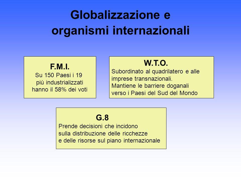 Globalizzazione e organismi internazionali F.M.I. Su 150 Paesi i 19 più industrializzati hanno il 58% dei voti W.T.O. Subordinato al quadrilatero e al