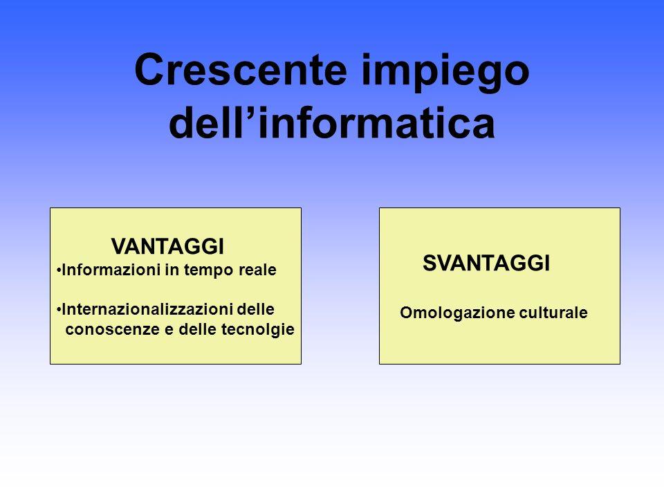Crescente impiego dellinformatica VANTAGGI Informazioni in tempo reale Internazionalizzazioni delle conoscenze e delle tecnolgie SVANTAGGI Omologazion