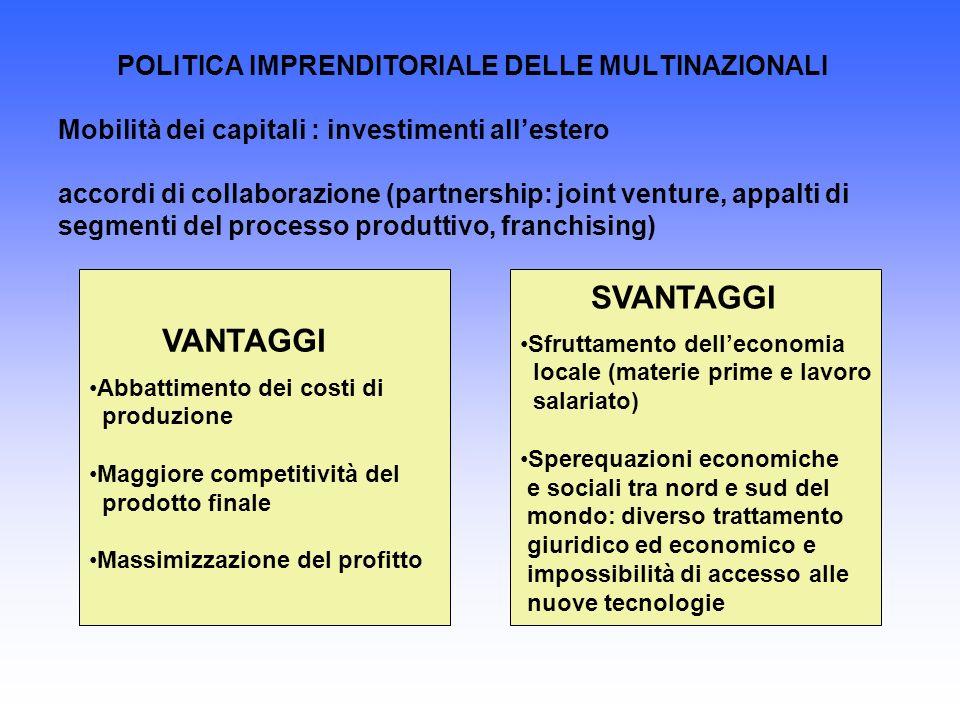 POLITICA IMPRENDITORIALE DELLE MULTINAZIONALI Mobilità dei capitali : investimenti allestero accordi di collaborazione (partnership: joint venture, ap