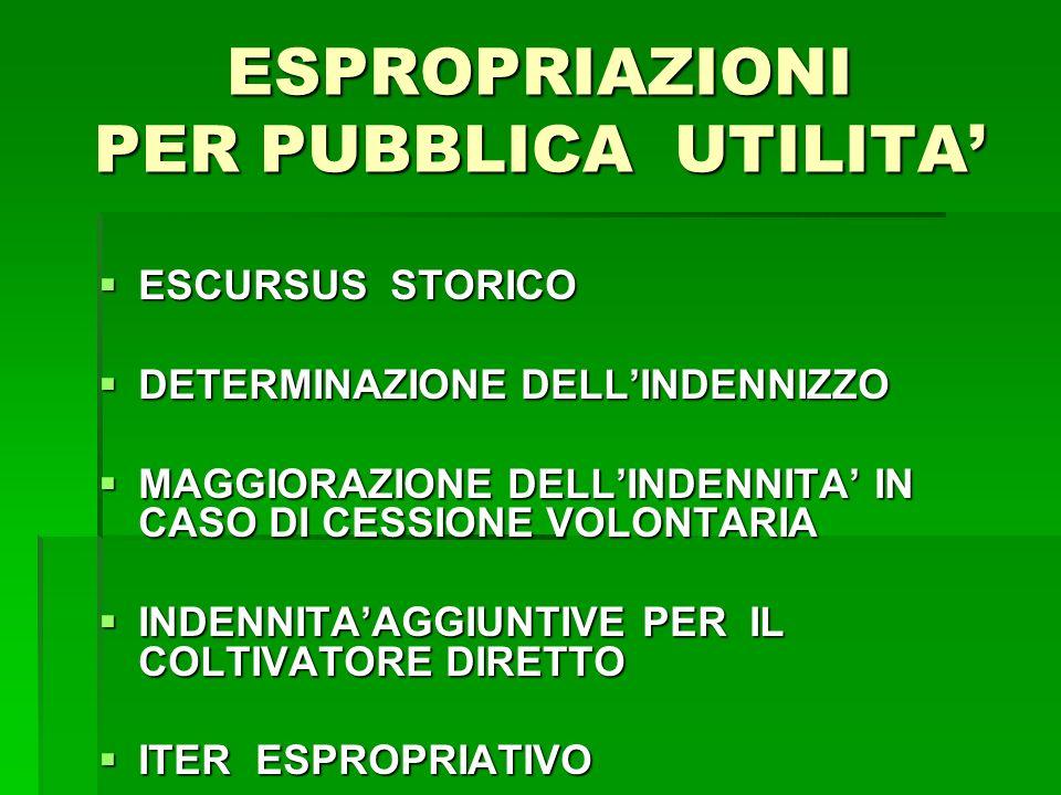 ESPROPRIAZIONI PER PUBBLICA UTILITA ESCURSUS STORICO ESCURSUS STORICO DETERMINAZIONE DELLINDENNIZZO DETERMINAZIONE DELLINDENNIZZO MAGGIORAZIONE DELLINDENNITA IN CASO DI CESSIONE VOLONTARIA MAGGIORAZIONE DELLINDENNITA IN CASO DI CESSIONE VOLONTARIA INDENNITAAGGIUNTIVE PER IL COLTIVATORE DIRETTO INDENNITAAGGIUNTIVE PER IL COLTIVATORE DIRETTO ITER ESPROPRIATIVO ITER ESPROPRIATIVO