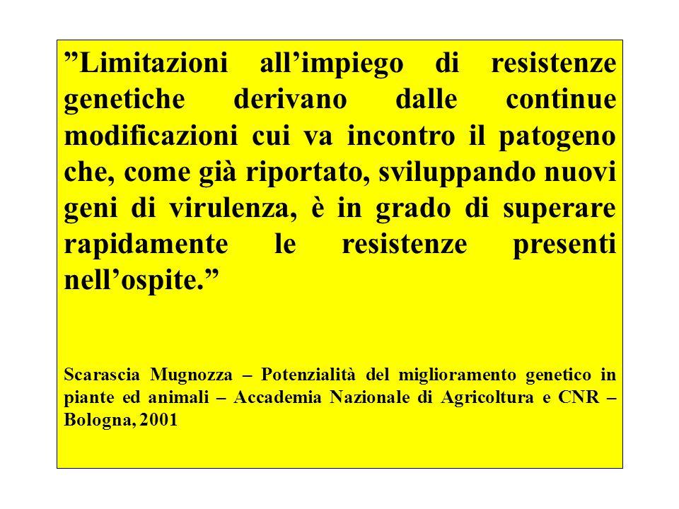 Limitazioni allimpiego di resistenze genetiche derivano dalle continue modificazioni cui va incontro il patogeno che, come già riportato, sviluppando
