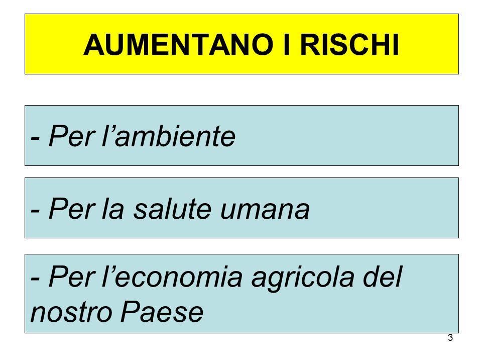 3 AUMENTANO I RISCHI - Per lambiente - Per la salute umana - Per leconomia agricola del nostro Paese