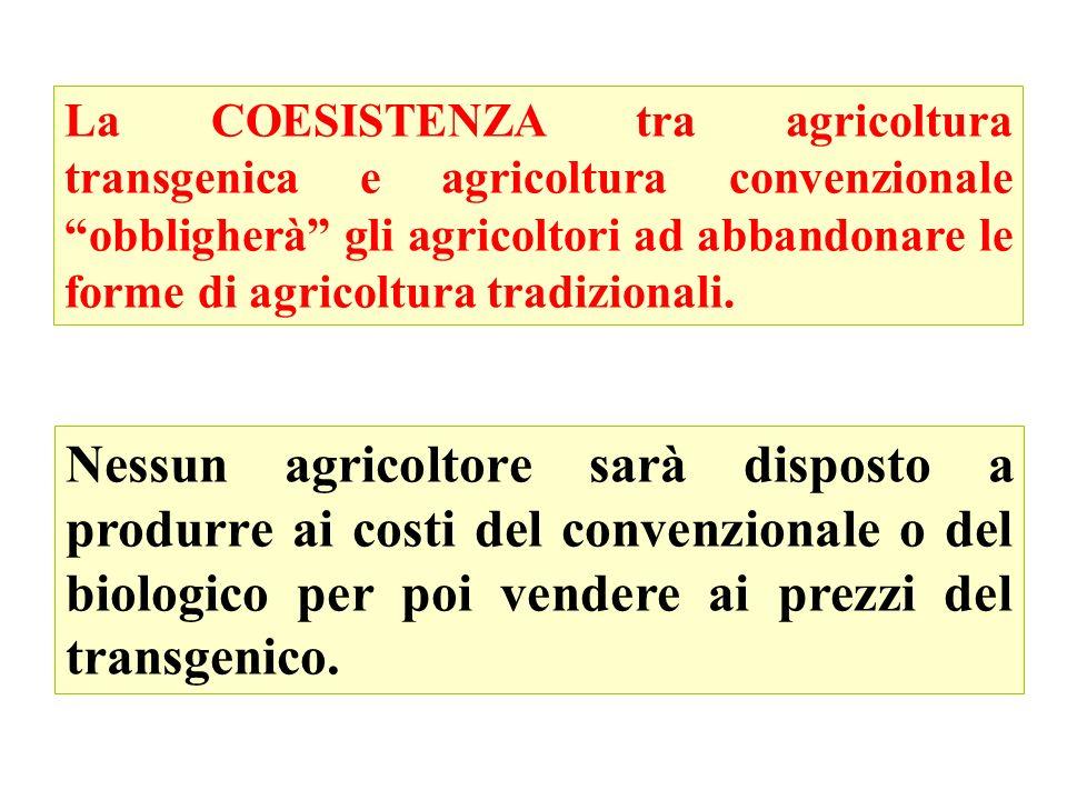 La COESISTENZA tra agricoltura transgenica e agricoltura convenzionale obbligherà gli agricoltori ad abbandonare le forme di agricoltura tradizionali.