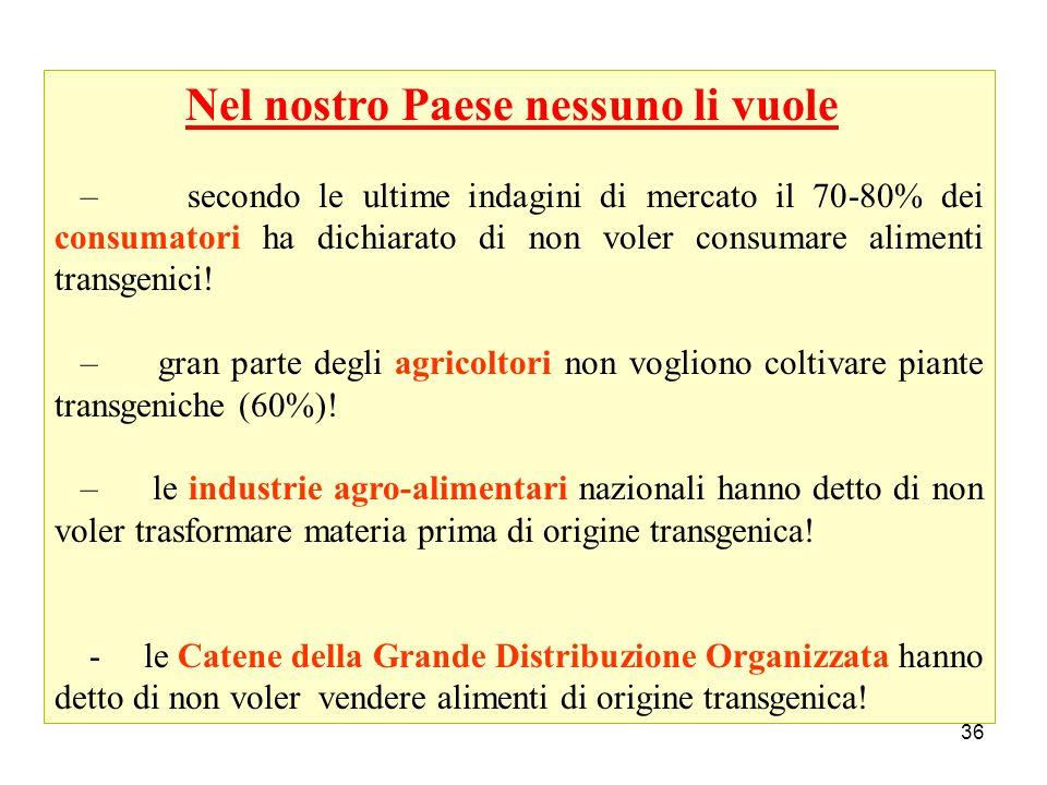 36 Nel nostro Paese nessuno li vuole – secondo le ultime indagini di mercato il 70-80% dei consumatori ha dichiarato di non voler consumare alimenti t